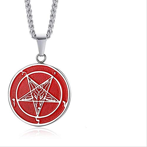 LBBYMX Co.,ltd Necklace Fashion Both Sides Wearable Baphomet Goat Sigil of Lucifer Necklace for Men Stainless Steel Pendant Casual Male Jewelry