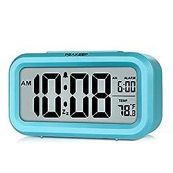 PEAKEEP Smart Night Light Digital Alarm Clock with Indoor Temperature, Battery Operated Desk Small Clock (Blue)
