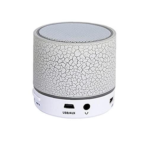 nJiaMe Tamaño portátil Mini Bluetooth Altavoz de Bolsillo LED Metal Wireless Speaker, Altavoz de Graves, Construido en el micrófono (Blanco)