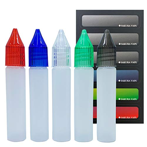 ユニコーンボトル 10ml 5本セット マルチカラー(クリア、グレー、グリーン、ブルー、レッド) SAKURA VAPE オリジナルラベルシール付