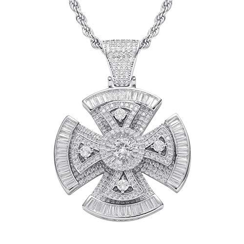 Fantex Exquisito collar de cruz giratoria Jumbo 5A con diamantes de imitación chapados en oro blanco para hombres y mujeres