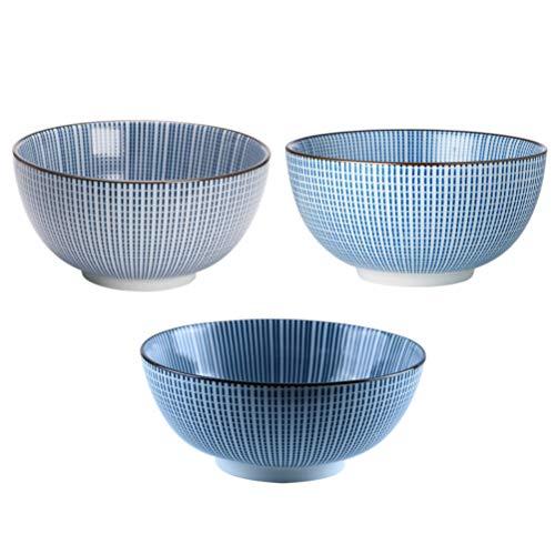 Hemoton 3 Piezas de Porcelana Japonesa Tazón de Fideos Japonés Ramen Conjunto de Tazón de Cerámica Tazón de Sopa de Cerámica Vajilla para Casa Restaurante Sopa de Arroz Titular
