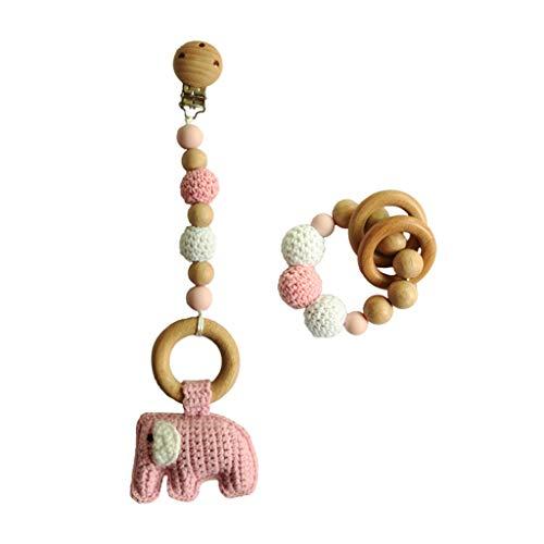 N|A Yuanshenortey - Anillo mordedor de madera para bebé con cadena para chupete