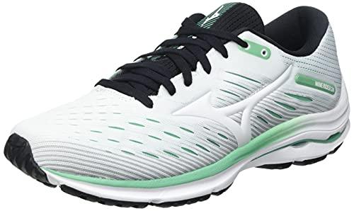 Mizuno Wave Rider 24, Zapatillas para Correr Mujer, Color Blanco y Crema de Jade, 38.5 EU