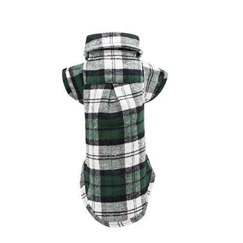 YAODHAOD Camisa Cuadros para Perros, Camisa A Cuadros de Moda para Mascotas Ropa para Perros, Camisa A Cuadros para Gatos Suave y Cómoda (M-Tea Cup Teddy y Conejo Corto, Verde)