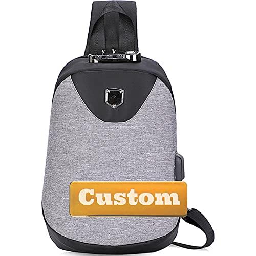 Nombre personalizado Sling Cofre Hombres Una bolsa de hombro Bolso de hombro de viaje para mujer Ligero (Color : Shenhui, Size : One size)