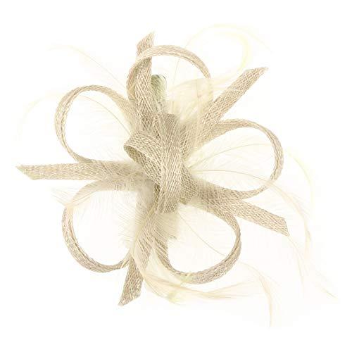 McBurn Clip Fascinator Haarschmuck Kopfschmuck Anlasshut Damen - Frühling-Sommer - One Size cremeweiß