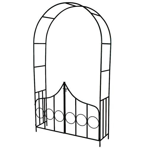 TecTake® Rosenbogen Torbogen Rankhilfe mit Tür Spalier Tor Rosen Bogen Metall