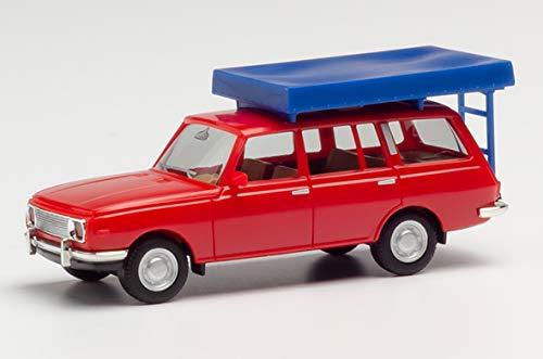 herpa 420549 Wartburg 353 `66 Tourist mit Dachzelt im Fahrzustand, rot