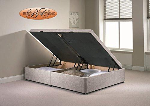 Divan Ottoman Side Lift Storage Bed Single 4'6 Double 5ft King Size Chenille (3FT Single, Silver)