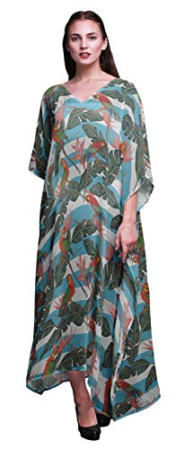 Bimba Bird Beach Kaftan Bikini Cover up Women's Maxi Dress Long Caftan-S-L