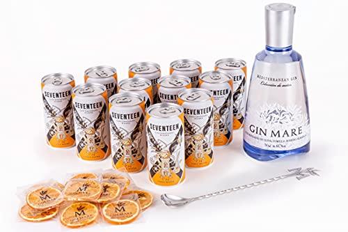 Gin Mare Home Bar - Ginebra Premium con 12 Tónicas Premium Seventeen, 12 Naranjas Deshidratadas y una Cucharilla Removedora