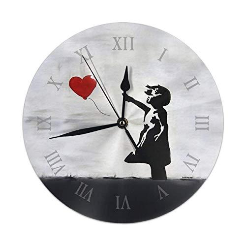 gardenia store Reloj de Pared Banksy para niña con corazón de Globo de Graffiti Original Wall Street Art HD Online Shop Redondo Home Decor de 9,84 Pulgadas