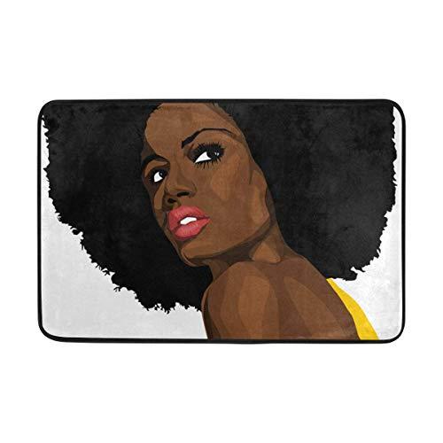 Alfombra de puerta Antideslizante Absorbe el agua Entrada al aire libre Felpudo Alfombras de cocina Baño Jardín Entrada Alfombra Decoración del hogar Mujer africana en ropa amarilla Cabeza explosiva