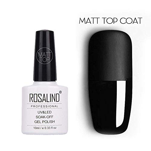 ROSALIND gel primario de esmalte de uñas capa superior mate para gel laca UV LED gel nail art diseño de extensión manicura (10ml capa superior mate)