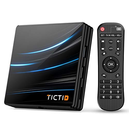 TICTID Android 10.0 TV Box D1 Pro【4G+64G】 RK3318 Quad-Core 64bit WiFi-Dual 5G/2.4G,BT 4.0, 4K*2K UDR H.265, USB 3.0 Smart TV Box