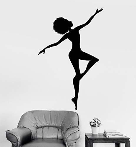 Ofomox Mujer Africana Silueta Vinilo Etiqueta de la Pared decoración Interior del hogar Sala de Estar Peinado Africano Tatuajes de Pared Art sticker88x165cm