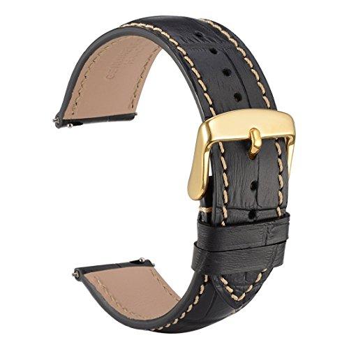 WOCCI 22mm Cinturino orologio in alligatore sbalzato con fibbia in oro, rilascio rapido (nero)