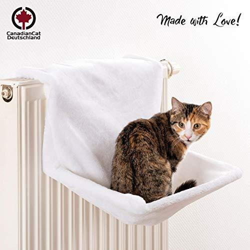 CanadianCat Company ®   Liegemulde für Katzen in weiß ca. 45x26x31 cm Katzen Heizungs-Liege XL