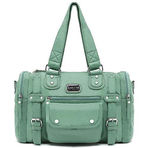 Scarleton Satchel Handbag for Women, Ultra Soft Washed Vegan Leather Crossbody Bag, Shoulder Bag, Tote Purse, Mint Green, H148553