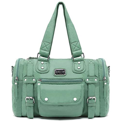 Scarleton Satchel Handbag for Women, Ultra Soft Washed Vegan Leather Crossbody Bag, Shoulder Bag, Tote Purse, Mint Green, H148553