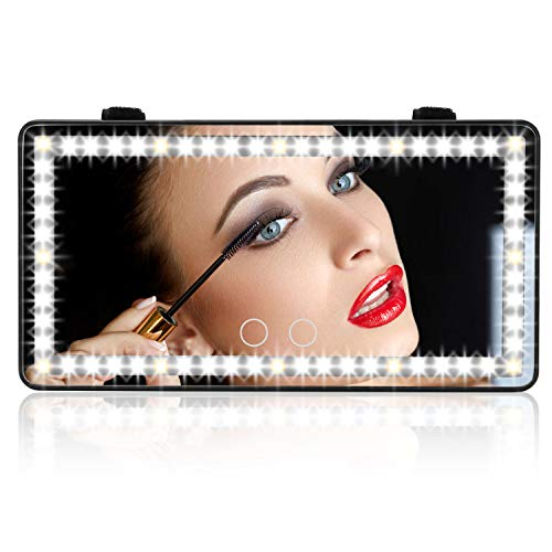 Car Vanity Mirror with 1700mha Rechargable Battery, Travel Mirror, Car Touch Screen LED Vanity Mirror,Touch Screen Make Up Mirror, automobile makeup mirror car sun visor mirror, 3 Light Mode Mirror