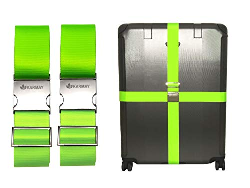Karmay Luggage Straps | New Premium Metal Buckle with Adjustable Suitcase Belts | Travel Safe (Lime Green)