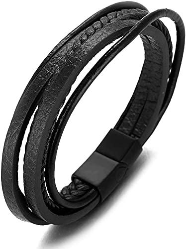 GHXAKPT Pulsera Multicapa de Cuero Negro Genuino de los Hombres Titanium Black Magnetic SCRASP 8'(20.5cm) con Caja (Color : A)