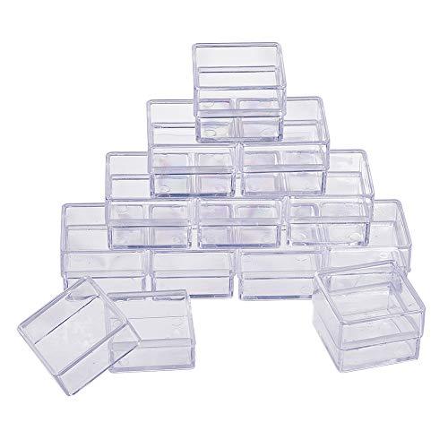 BENECREAT 16er Pack Square Kunststoff-Aufbewahrungsbehälter aus Kunststoff mit hoher Transparenz für Schönheitsbedarf, kleine Perlen, Schmuckzubehör und andere kleine Gegenstände