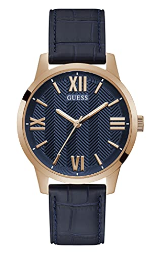 GUESS Men's Stainless Steel Quartz Watch with Leather Strap, Blue, 20 (Model: GW0250G3)