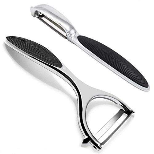 Vegetable Peeler for Kitchen -2 Styles Premium Stainless Steel Swivel Peelers,Multi-Function,Carrot,Fruit,with Ergonomic Non-Slip Handle and Sharp Blade, Good Grip and Durable,One Piece Design