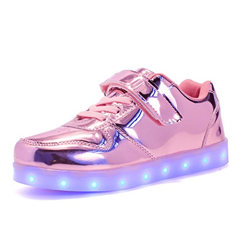 KCHKUI-UK Kinder LED Schuhe 7 Farbe Leuchtend USB Aufladen Laufschuhe Low-top Sport Outdoorschuhe Licht Atmungsaktive Leichtathletikschuhe Niedrig Gymnastik Trekking Walking Sneaker Jungen Mädchen