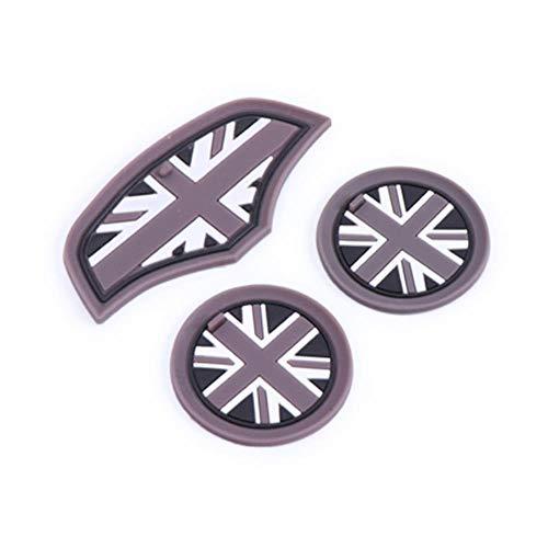 xiaobobo 3 STÜCKE Union Jack Auto Tasse Kaffee Kissen Lagerung Groove Coaster Auto rutschfeste Matte Pad Für Mini Cooper Clubman F55 F56 Zubehör, Grau Union Ja
