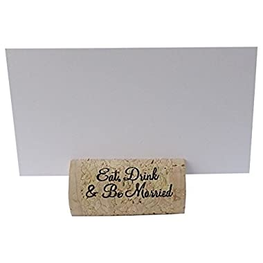 Wine Cork Place Card Holders Custom Cork Card Holders  Eat Drink & Be Married  set of 25 Includes Place Cards Escort Card Rustic Wine Cork Table Décor Wine Theme Wedding Cork Placecard