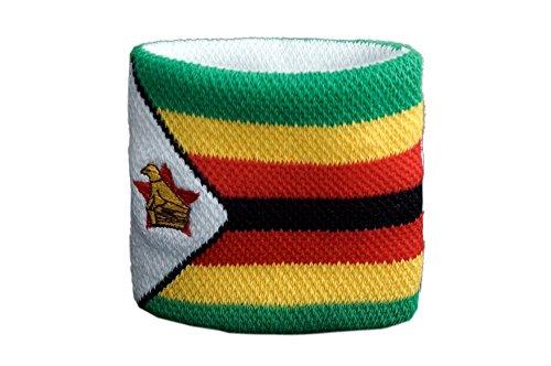 Flaggenfritze Schweißband Motiv Fahne/Flagge Simbabwe, 2er Set + gratis Aufkleber