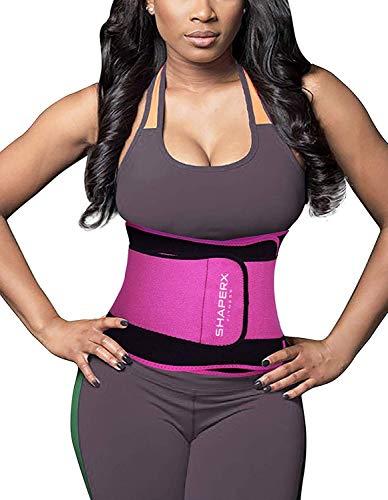 SHAPERX Women Waist Trimmer Waist Trainer Sweet Sweat Bands Trimmer Ab Belt Double Support for Weight Loss Men Women,SZ8011-Rose-M