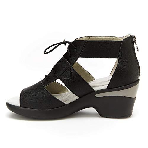 Jambu Women's JBU Coco Encore Synthetic Memory Foam Insole Wedge Sandal Black