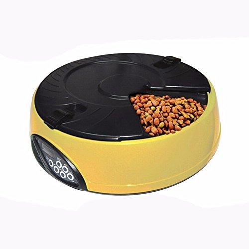 Pet Online Gato mascota Alimentador automático de plástico alimentadores temporizado puede utilizarse para seco y húmedo en la comida de gatos,amarillo