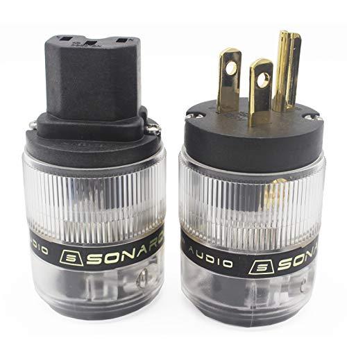 SonarQuest Standard Edition 24K Gold Plated US Power Plug & IEC Connector Set AC Power for HiFi Audio (ST-GP+GC(B))
