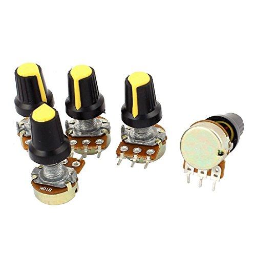 SODIAL 5pzs 10K OHM 3 Terminales Potenciometro de tipo B de audio giratorio conico lineal