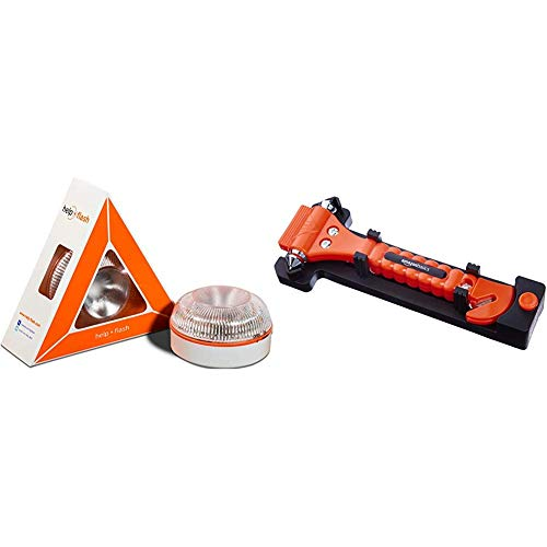 Help flash - Luz de Emergencia autónoma - Señal v16 de preseñalización de Peligro, homologada DGT & Amazon Basics - Cortador de cinturón de Seguridad y Martillo rompecristales de Emergencia