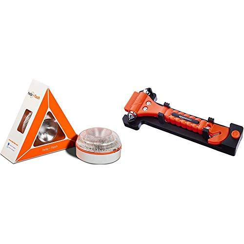 Help flash - Luz de Emergencia autónoma - Señal v16 de preseñalización de Peligro, homologada DGT & AmazonBasics - Cortador de cinturón de Seguridad y Martillo rompecristales de Emergencia