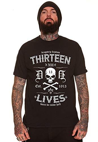 Mens Dragstrip Clothing 13 Lives Born To Raise Hell Black Biker Hot Rod Tattoo T Shirt Men Black Fashion Tshirt