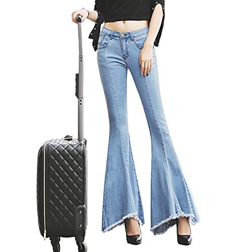 Jeans Acampanados Con Cola De Pez Grande, Pantalones Con Flecos Y Flecos Para Mujer De Corte Ajustado, Jeans Acampanados De Pierna Ancha Para Mujer, Pantalones De Mezclilla Retro En Forma De Bota