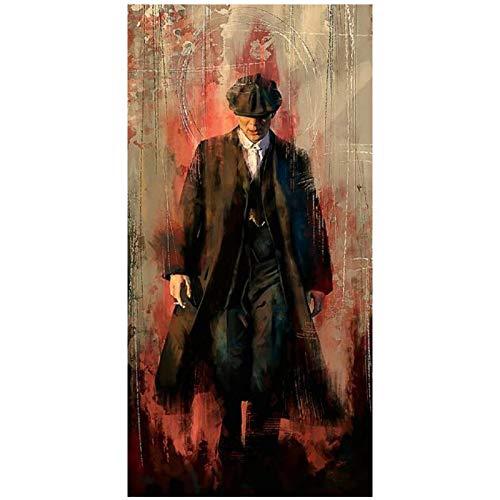 TanjunArt Peaky Blinders Pinturas artísticas Impresas en Lienzo Carteles artísticos e Impresiones Retrato de Tommy Shelby imágenes artísticas decoración del hogar-70x140cm sin Marco
