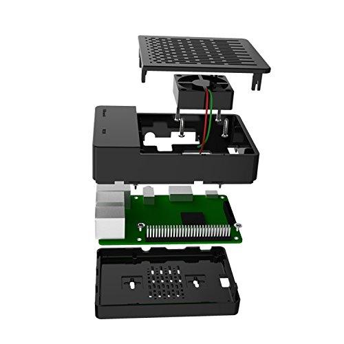 GeeekPi Case for Raspberry Pi 3 Model B+ (B Plus), computer case with Cooling Fan and 3PCS Heatsinks for Raspberry Pi 3/2 Model B (Not Include Raspberry Pi Board)(Black)