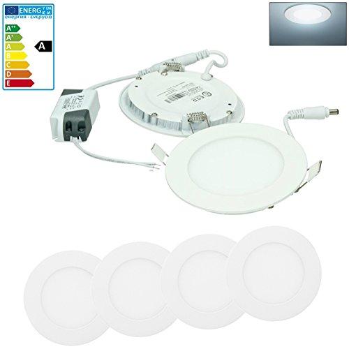 ECD Germany 4-er Pack LED Einbaustrahler 6W - Panel Deckenstrahler ultraslim - 220-240V - SMD 2835 - Ø12 cm - kaltweiß 6500K - runder Einbauleuchten Spot für Flur, Bad oder Küche