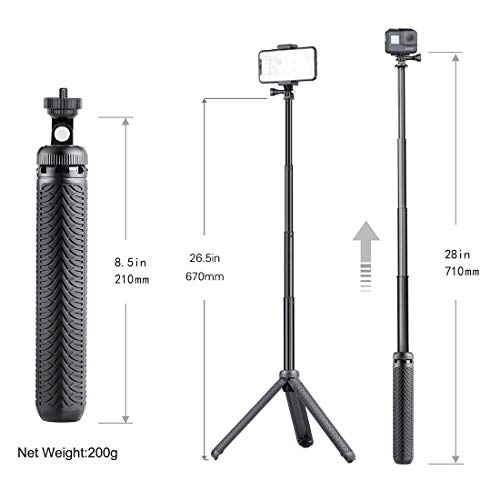 Premium Selfie Stick for GoPro Hero 9 8 7 6 5 4 3 3+ 2 2018 Fusion Session, ACASO, SJCAM Action Cameras, and Cell Phones and Compact Digital Cameras. Can be Used as Hand Grip, monopod and Tripod