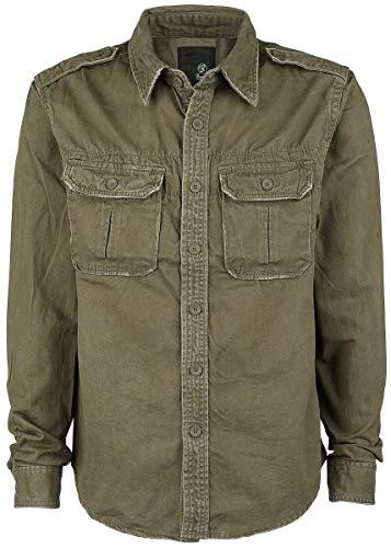 Brandit Vintage Shirt Camicia Verde Oliva L