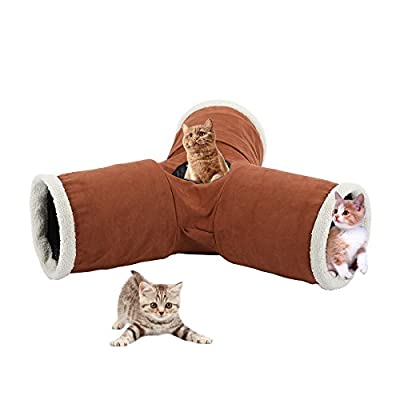 CO-Z 3-Way Collapsible Pet Toy Tunnel Tube for Cat